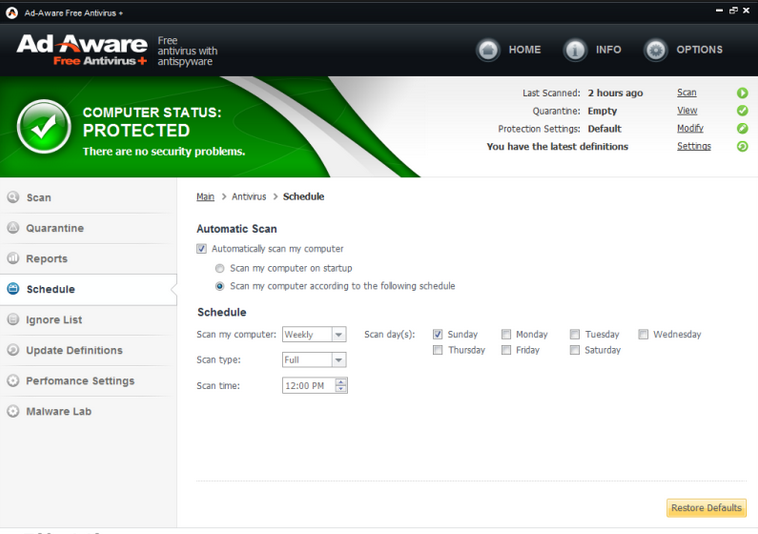 Ad-Aware Free Antivirus 11.7.485.8398