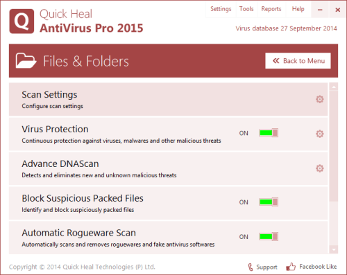 Screenshots are Quick Heal Antivirus Pro 2015 Crack 1