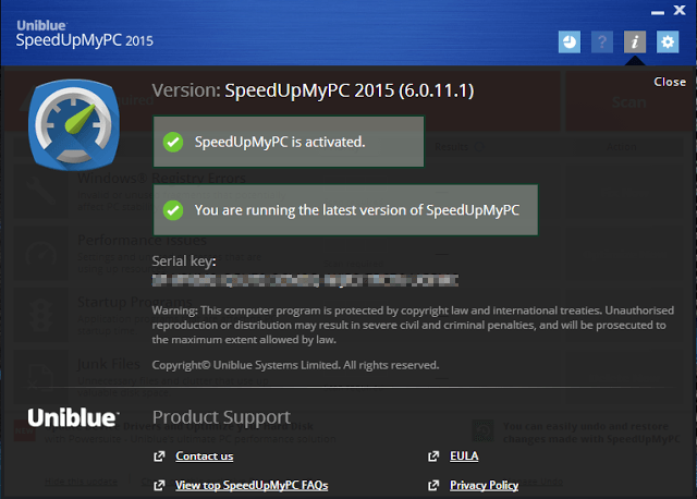 Uniblue SpeedUpMyPC 2015 V6.0.11.1 Serial Key