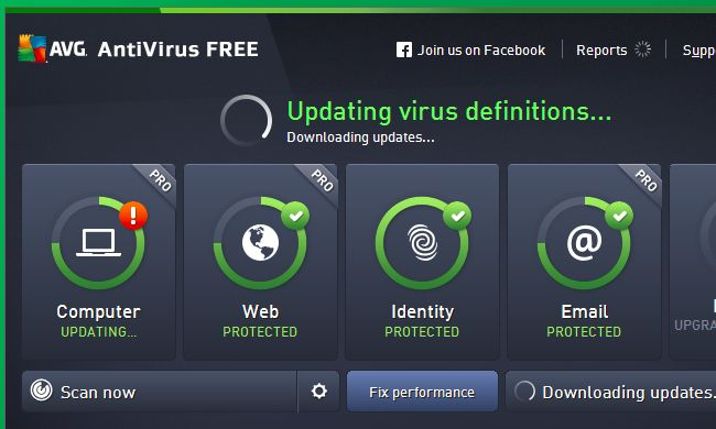 AVG update for virus definitions